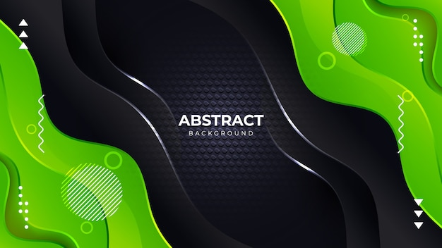 Abstract green and black wavy background