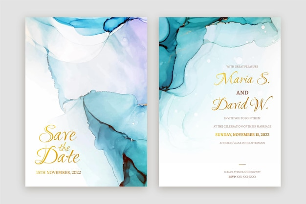 Abstract green and blue alcohol ink wedding invitation