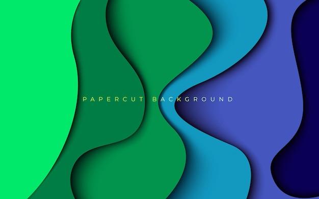 抽象的な緑青カラフルなペーパーカット寸法レイヤー波状の背景