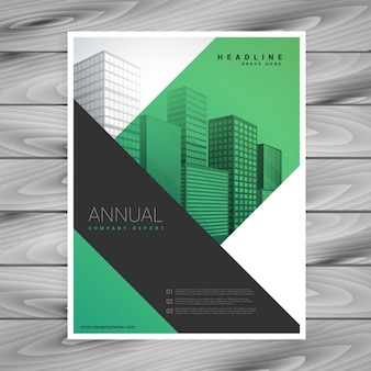 Abstract green business brochure flyer with geometric shapes