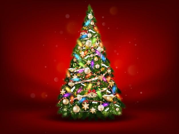赤の背景に抽象的な緑のクリスマスツリー。
