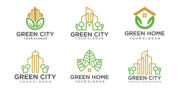 Abstract green city building logo design concept. symbol icon of residential, apartment and city.