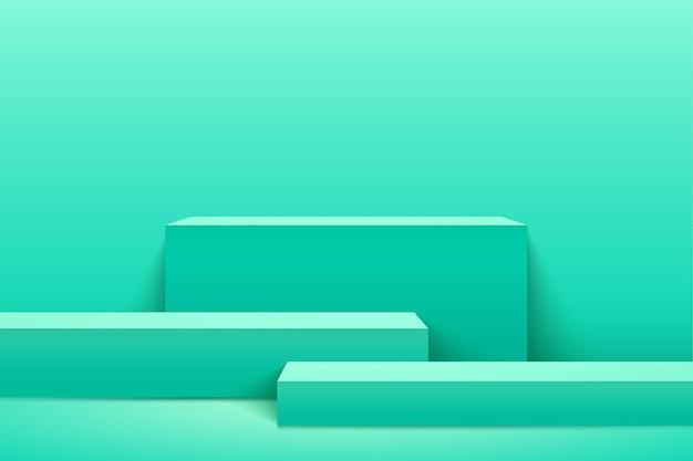 제품에 대 한 추상 녹색 큐브 표시입니다. 3d 렌더링 기하학적 모양 파스텔 색상입니다.