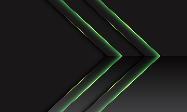 Abstract green double arrow metallic direction on dark grey with blank space design modern futuristic technology background