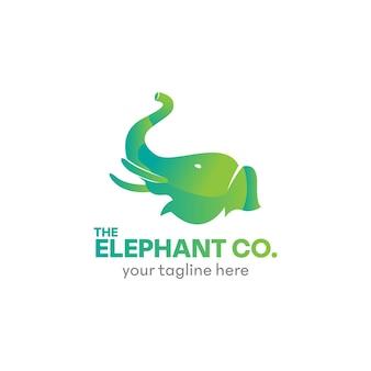 Abstract green elephant logo design template