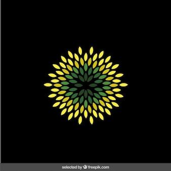 Abstract green flower logo