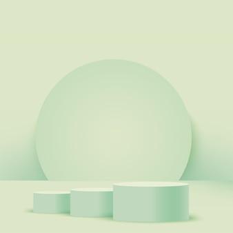 抽象的な緑の幾何学的な3d表彰台。