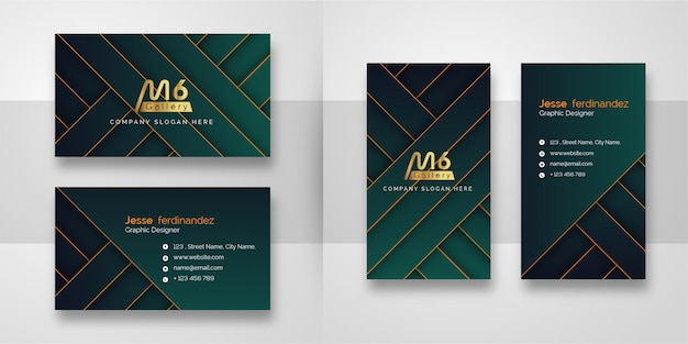 Abstract green & gold line business card template