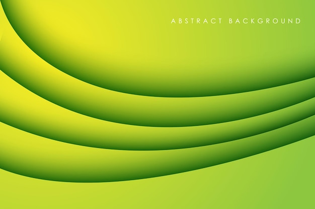 Abstract green gradient curve papercut background dimension layers
