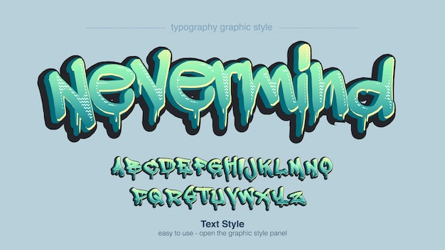 Abstract green graffiti typography style