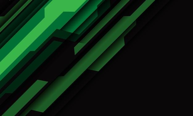 Абстрактная зеленая серая кибер-геометрическая косая черта на фоне современной футуристической технологии дизайна темного пустого пространства.