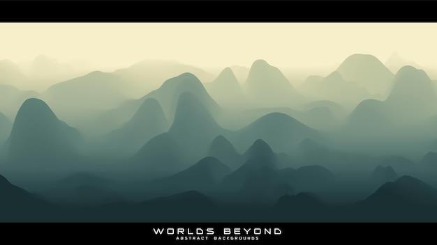 Абстрактный зеленый пейзаж с туманным туманом до горизонта над горными склонами.
