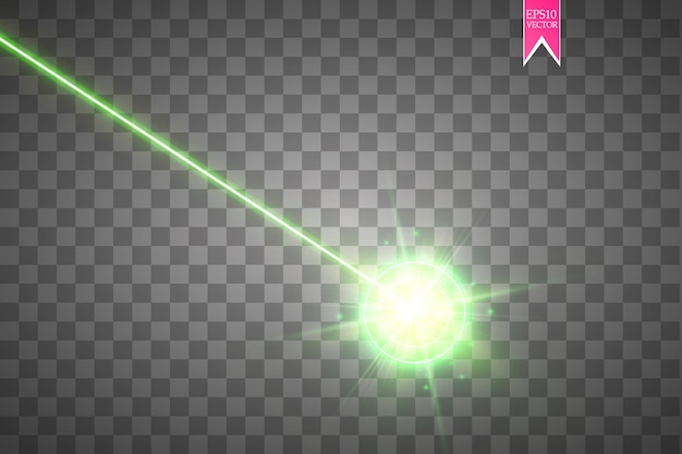 Abstract green laser beam on transparent background
