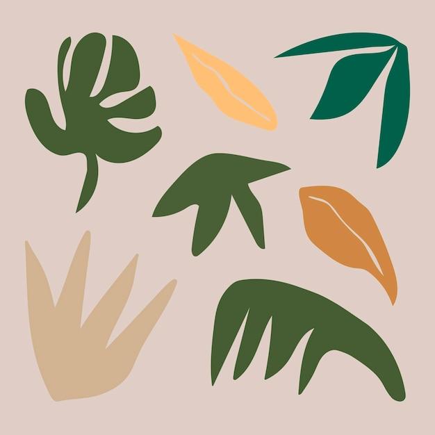 Foglia verde astratta, set di elementi di design estetico vettore
