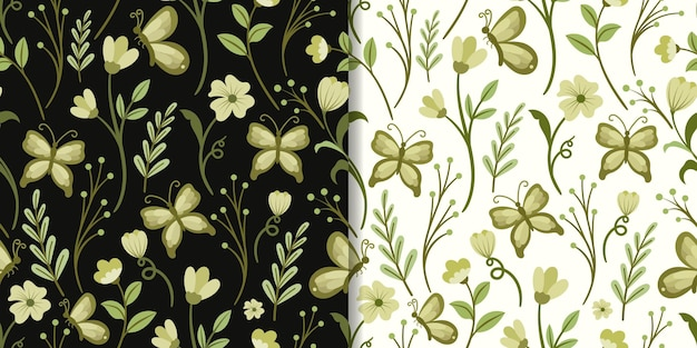 Abstract green leaf and butterfly seamless pattern