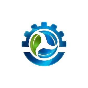ギアシンボル要素ベクトルデザインエコロジーシンボル内の抽象的な緑の葉