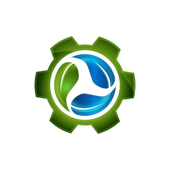 Abstract green leaf inside gear symbol element vector design ecology symbol