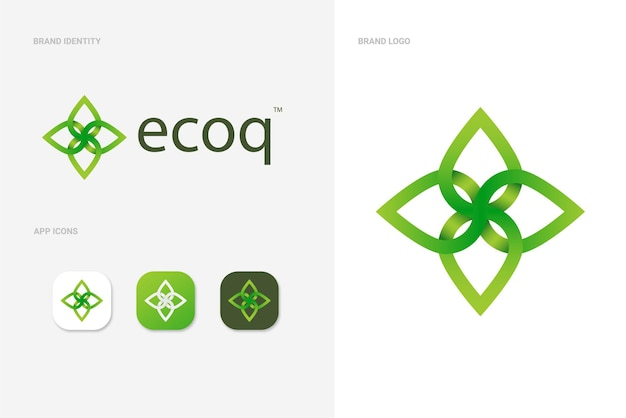 Abstract green leaf logo concept with app icons