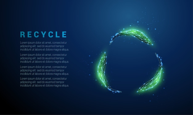 Abstract green leafs in circle. low poly style design. blue geometric background. wireframe light connection structure. modern   ecology concept. isolated  illustration.