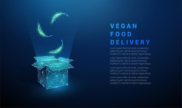 Abstract green leafs falling in open box. vegan food symbol. low poly style design.