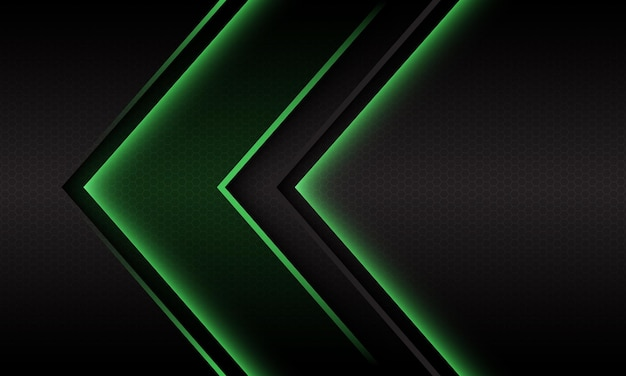 Abstract green light arrow direction geometric hexagon mesh design modern futuristic background