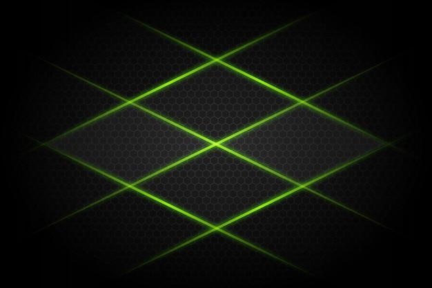 어두운 회색 빈 공간 디자인 현대 미래의 배경에 추상 녹색 빛 라인 크로스