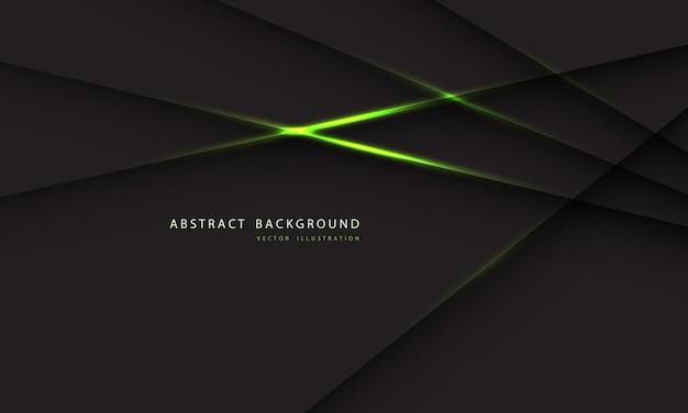 濃い灰色の背景に抽象的な緑色の光の線