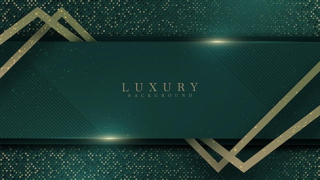 Abstract green luxury background with golden line on dark