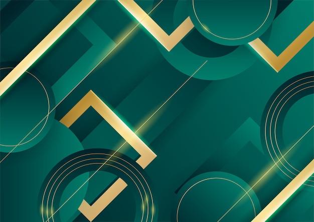Абстрактный зеленый роскошный фон с золотой линией на темноте. реалистичный стиль вырезки из бумаги 3d. векторная иллюстрация для баннера, плаката, брошюры, фона презентации и многого другого
