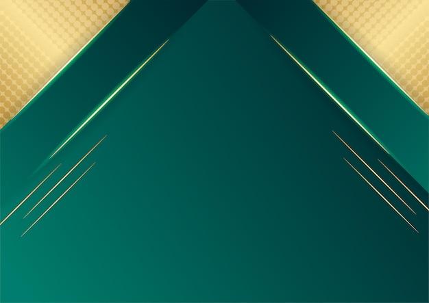 어둠에 황금 선이 있는 추상 녹색 고급 배경. 현실적인 종이 컷 스타일 3d. 배너, 포스터, 브로셔, 프레 젠 테이 션 배경 등을 위한 벡터 일러스트 레이 션