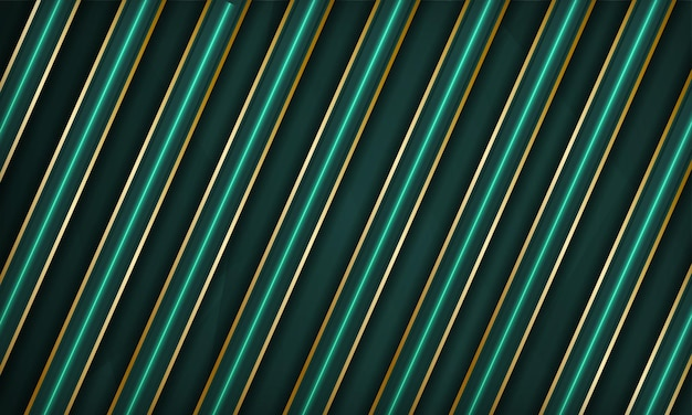 金色の線とネオンの光の効果の装飾と抽象的な緑の豪華なオーバーラップレイヤーの背景