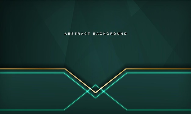 Abstract green luxury overlap layers background with golden line and neon light effect decoration