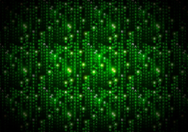 Abstract green matrix symbols, digital binary code on dark, technology background