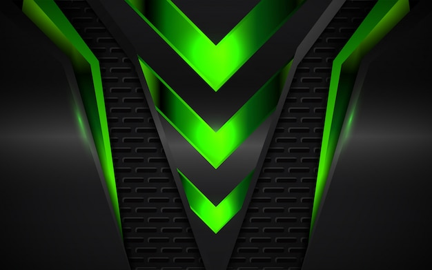 Abstract green metallic shapes background