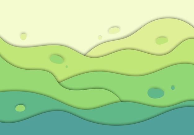 抽象的な緑の自然の波は、背景デザインコンセプトペーパーアートスタイルを刻みます。ベクトルイラスト