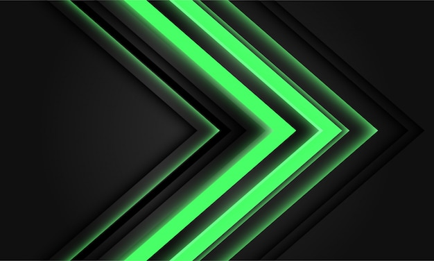 Abstract green neon arrow light direction on black background.