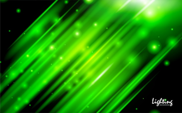暗い背景に抽象的な緑のネオンの光