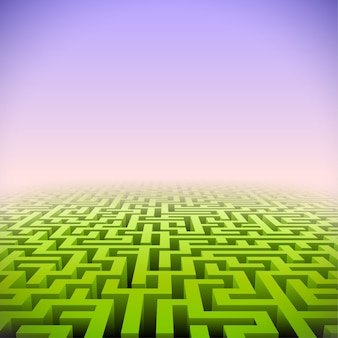 Abstract green perspective labyrinth