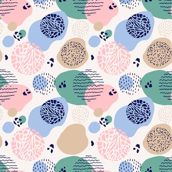 Abstract green, pink and blue seamless pattern