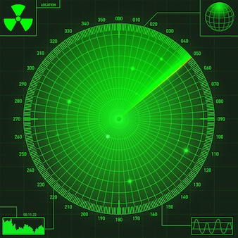Abstract green radar with targets in action. military search system.