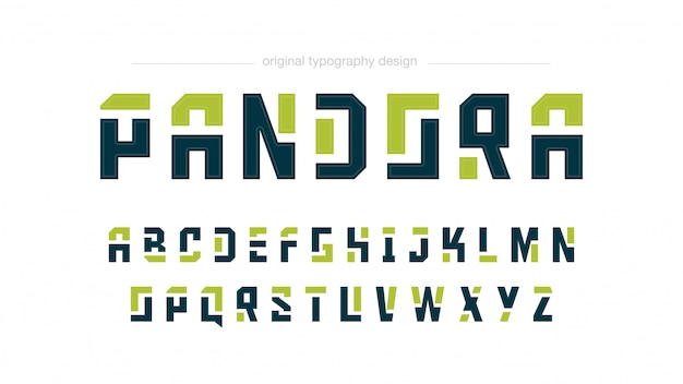 Abstract green shapes typography