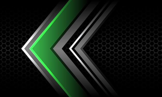 Abstract green silver arrow direction grey hexagon mesh black luxury futuristic technology vector