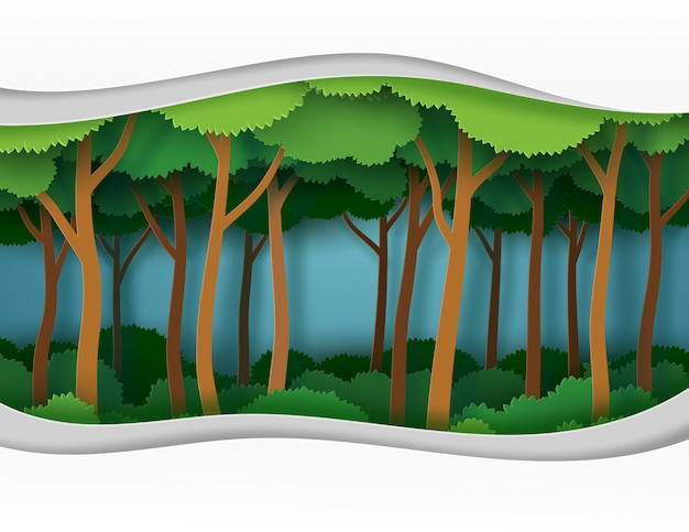 Abstract green tree in the forest in vector illustration paper art style.