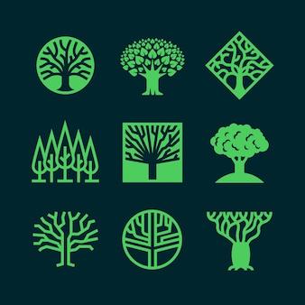 Abstract green tree logos.