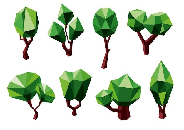 Abstract green trees icons in polygonal style, isolated on white. for ecology or nature themes design