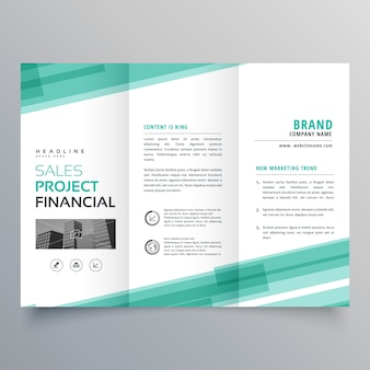 Abstract green trifold template brochure design