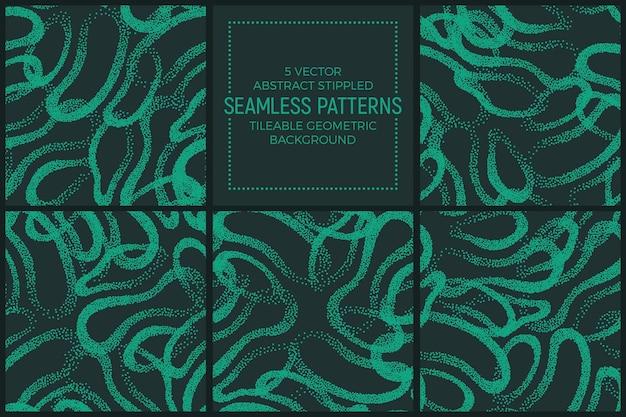 抽象的な緑のターコイズの点描反復シームレスパターンセット