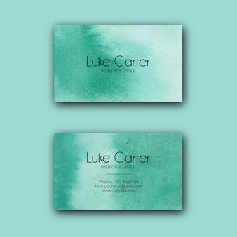 抽象的な緑の水彩名刺