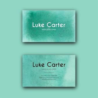 抽象的な緑の水彩テクスチャ名刺