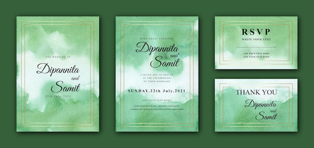 Abstract green watercolor wedding card template with golden frame